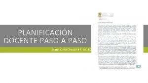 PLANIFICACIN DOCENTE PASO A PASO Segn Carta Circular