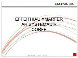 GCa D CYMRU NGf L EFFEITHIAU YMARFER AR