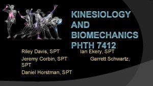 KINESIOLOGY AND BIOMECHANICS PHTH 7412 Riley Davis SPT