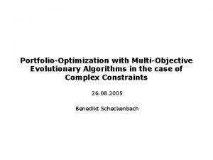 PortfolioOptimization with MultiObjective Evolutionary Algorithms in the case