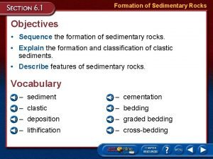 Formation of Sedimentary Rocks Objectives Sequence the formation