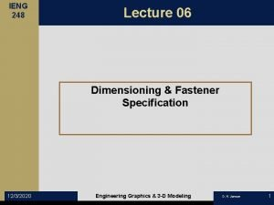 IENG 248 Lecture 06 Dimensioning Fastener Specification 1232020