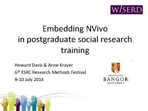 Embedding NVivo in postgraduate social research training Howard