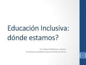 Educacin Inclusiva dnde estamos Por Liliana Peaherrera Snchez