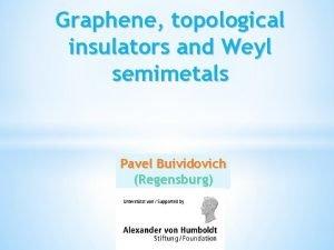 Graphene topological insulators and Weyl semimetals Pavel Buividovich