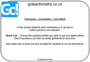 Pythagoras Coordinates Card Match In this activity students