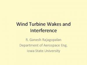 Wind Turbine Wakes and Interference R Ganesh Rajagopalan