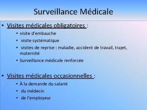 Surveillance Mdicale Visites mdicales obligatoires visite dembauche visite