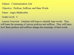 Subject Communication Arts Objective Prefixes Suffixes and Base