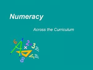 Numeracy Across the Curriculum What is numeracy Mathematical