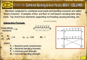 Members subjected to combined axial loads and bending