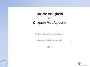 Sociale Veiligheid en Omgaan Met Agressie Code 95