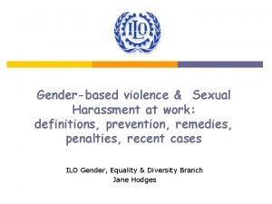 Genderbased violence Sexual Harassment at work definitions prevention