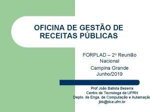 OFICINA DE GESTO DE RECEITAS PBLICAS FORPLAD 2