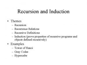 Recursion and Induction Themes Recursion Recurrence Relations Recursive