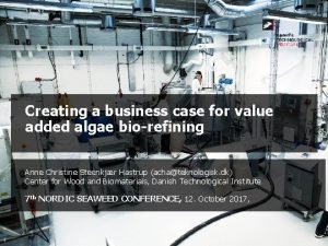 Creating a business case for value added algae