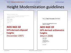 Height Modernization guidelines NOS NGS 58 GPSderived ellipsoid