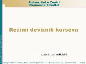 Univerzitet u Zenici Ekonomski fakultet Chapter 21 Exchange
