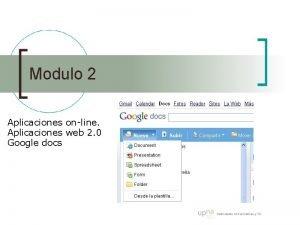 Modulo 2 Aplicaciones online Aplicaciones web 2 0