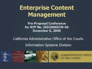 Enterprise Content Management PreProposal Conference for RFP No