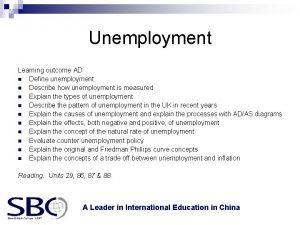 Unemployment Learning outcome AD n Define unemployment n