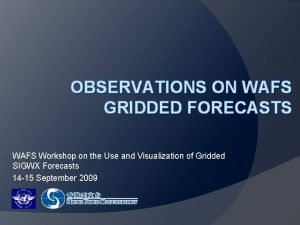 OBSERVATIONS ON WAFS GRIDDED FORECASTS WAFS Workshop on