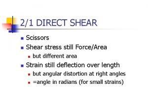 21 DIRECT SHEAR n n Scissors Shear stress