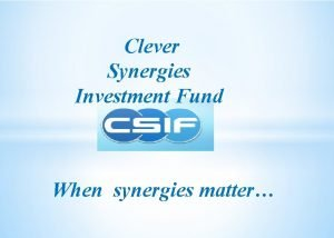 Clever Synergies Investment Fund When synergies matter CSIF
