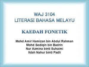 Mohd Amir Hamizan bin Abdul Rahman Mohd Sodiqin