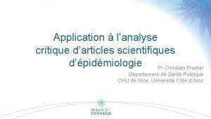 Application lanalyse critique darticles scientifiques dpidmiologie Pr Christian