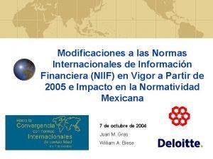 Modificaciones a las Normas Internacionales de Informacin Financiera