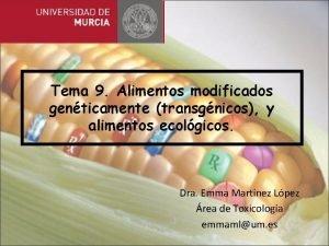 Tema 9 Alimentos modificados genticamente transgnicos y alimentos