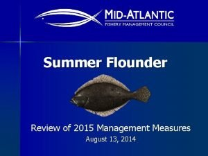 Summer Flounder Review of 2015 Management Measures August