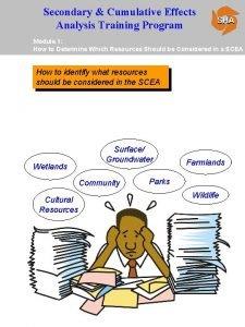 Secondary Cumulative Effects Analysis Training Program Module 1