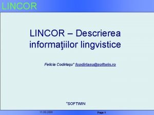 LINCOR Descrierea informaiilor lingvistice Felicia Codirlau fcodirlasusoftwin ro