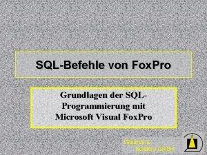 SQLBefehle von Fox Pro Grundlagen der SQLProgrammierung mit