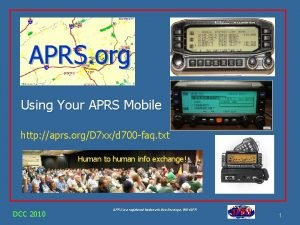 APRS org Using Your APRS Mobile http aprs