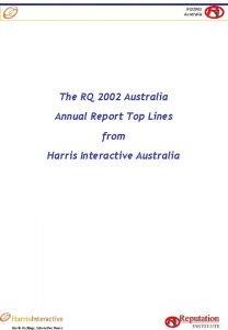 RQ 2002 Australia The RQ 2002 Australia Annual