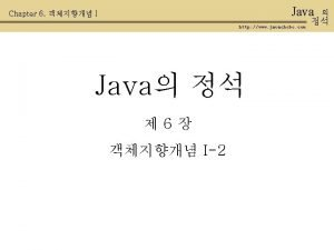 Java Chapter 6 I http www javachobo com