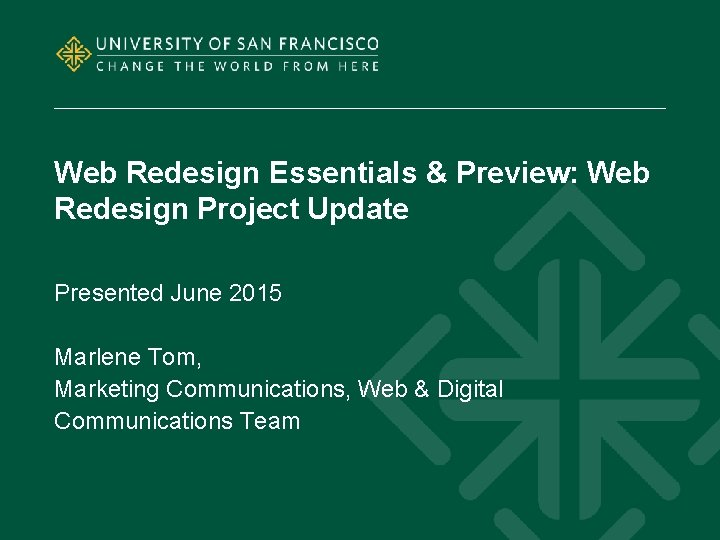 Web Redesign Essentials Preview Web Redesign Project Update
