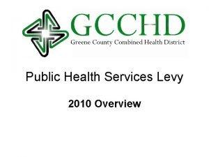 Public Health Services Levy 2010 Overview History PUBLIC