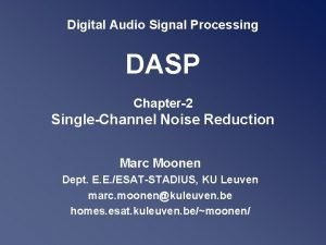 Digital Audio Signal Processing DASP Chapter2 SingleChannel Noise