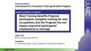 Preliminary Report Unemployment Insurance Training Benefits Program Legislative