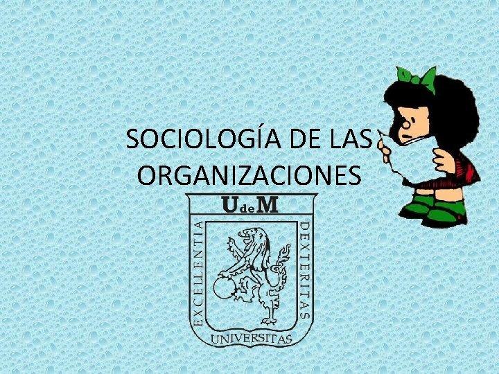 SOCIOLOGA DE LAS ORGANIZACIONES Sociologa es un campo
