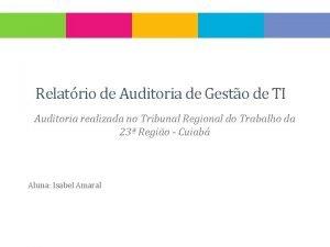 Relatrio de Auditoria de Gesto de TI Auditoria