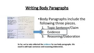 Writing Body Paragraphs Body Paragraphs include the following