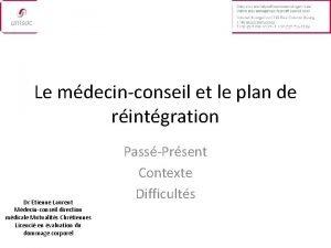 Le mdecinconseil et le plan de rintgration Dr
