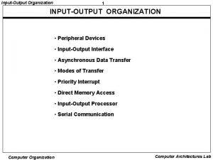 InputOutput Organization 1 INPUTOUTPUT ORGANIZATION Peripheral Devices InputOutput