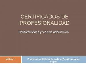 CERTIFICADOS DE PROFESIONALIDAD Caractersticas y vas de adquisicin