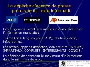 La dpche dagence de presse prototype du texte